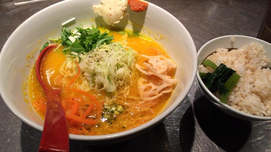 ベジソバ+玄米ご飯
